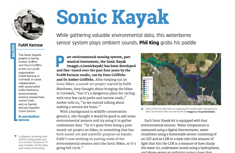 Sonic Kayaks showcased in The MagPi magazine