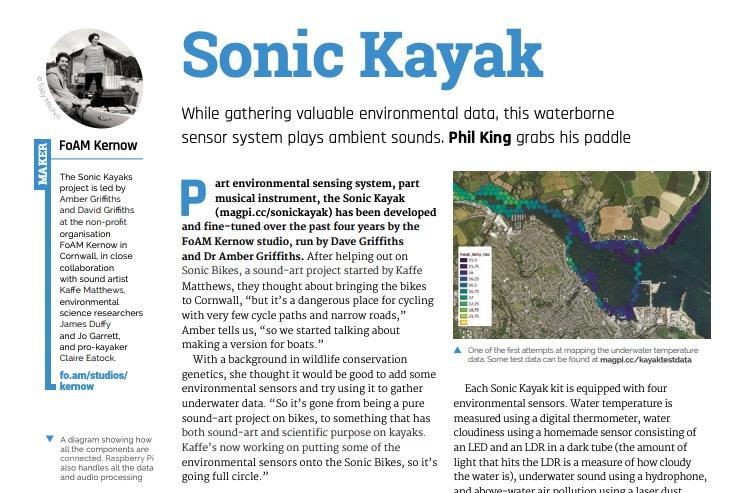 Sonic Kayaks showcased in The MagPi magazine