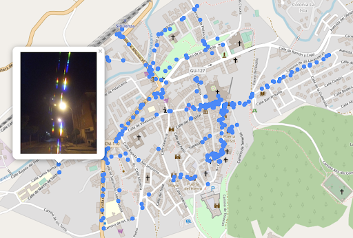 Students map the street lights of Sigüenza